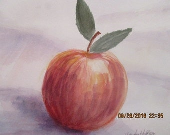 APPLE WATERCOLOR PAINTING, Student's Artwork, Painting Unframed and Unmatted, Watercolors, Signed Watercolor Painting, Painted on Paper
