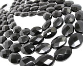 Onyx Beads, 13mm x 18mm, Black Onyx, Luxe AAA, Faceted Oval, SKU 4095A