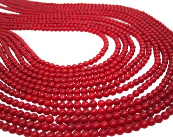 Red Coral Beads, 3mm Round Coral, Red Gemstone Beads, SKU 4241A