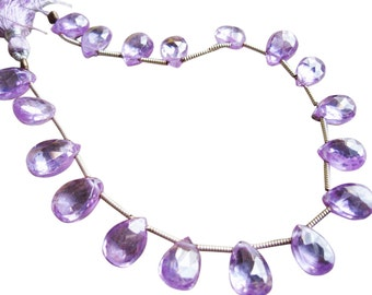 Natural Zircon Briolette Beads, Lavender Zircon, Faceted Pear Briolettes, December Birthstone, SKU 4973A