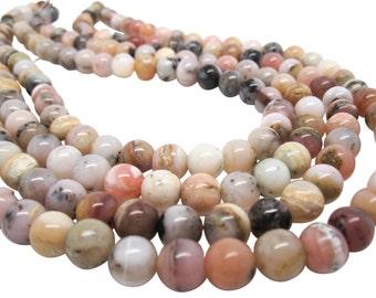 Pink Opal Beads, Pink Peruvian Opal, Pink Opal Round, 9mm Round, SKU 4120A