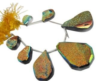 Druzy Beads, Drusy, Titanium Druzy Beads Briolettes, Titanium Drusy, Druzy Quartz Beads, Orange Druzy, SKU 4886