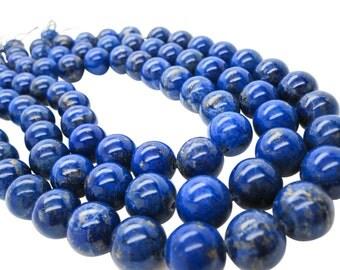 Lapis Lazuli, AAA Lapis Beads, 14mm Smooth Round, SKU 5130A
