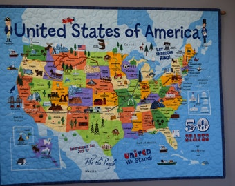 Wall Hanging United States of America Handmade Quilted Wall Decor