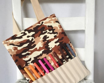 Camo Marker Bag Camoflage Army Coloring Totes Boys Car Game Childrens Art Camo Crayon Roll Boy Toddler Gift