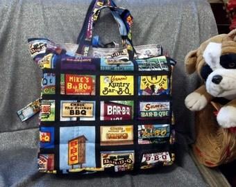 Cotton Shopping Tote Bag, BBQ Joints Print