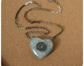 Roller Derby Bearing Necklace - heart shaped hand cast resin pendant