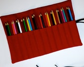 READY TO SHIP Canvas 12-24 PenCil Cozy Case Roll in Cherry Red