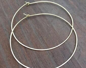 """2.25""""; 2.5"""" inch; 3"""" Gold Hoop Earrings, Hoop, Hammered Gold Filled Hoop Earrings, Gold Hoops, 14KT Gold Filled Hoop Earrings"""