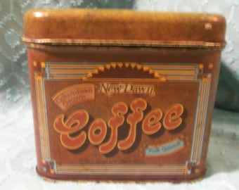Cheinco New Dawn Coffee Tin 1970 MidCentury Retro Canister