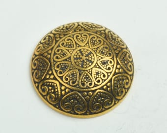 Button , flat back antique gold finish,  30mm sold 3 per package 09502AG