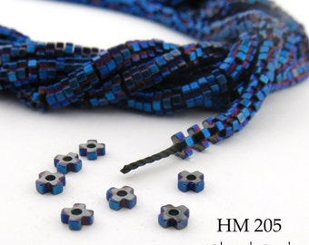 3mm Tiny Shiny Dark Blue Hematite Flower Heishi Beads Small 3mm x 1mm Full Strand (HM 205) BlueEchoBeads