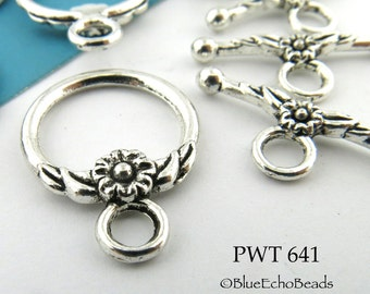 17mm Flower Toggle Clasp Pewter Antiqued Silver (PWT 641) 6 sets BlueEchoBeads