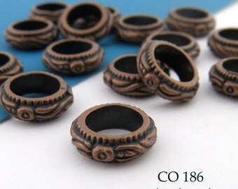 11mm Large Hole Antique Copper Ring Floral Detail  (CO 186) 12 pcs BlueEchoBeads