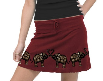Elephants Skirt, Sacred Elephant Print, Elephant Love,  Graphic Maroon Mini Skirt