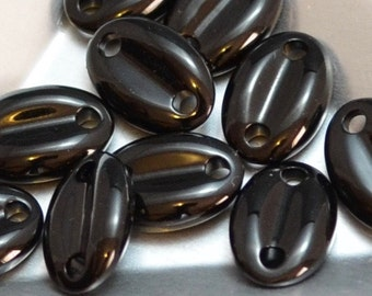Vintage Swarovski Article #3219 Connectors Transparent Jet Coffee Bean Shape Two Hole Beads (2)