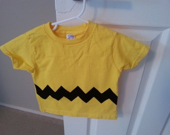 READY TO SHIP Great Costume Charlie Brown inspired Children's t-shirt with sewn cotton applique