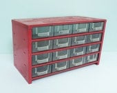 Industrial Red Metal Storage Unit, Jiffy Cabinet with 16 Clear Plastic Drawers, Mid-Century Tabletop Chest