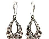 Teardrop Bridal Earrings, Peacock Wedding Jewelry, Gold Earrings, Art Nouveau Earrings, Swarovski Jewelry, TEARDROP