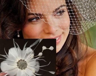 Wedding Headpieces Set, Flower Fascinator, Wedding Birdcage Veil, Feather Headpiece, Bridal Hair Accessories, NIRVANI VIVA