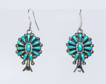 Early Zuni Turquoise Earrings - Zuni Petitpoint Squash - New Hooks