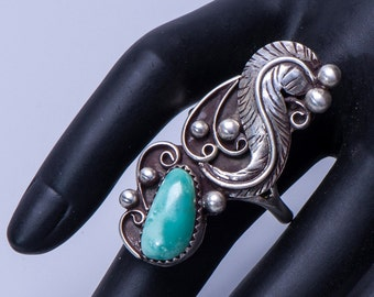 Long Turquoise Pawn Ring - Vintage Native American - 70s Navajo - sz 11 3/4