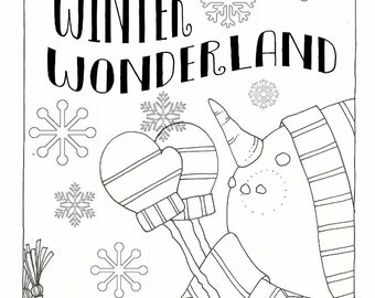 Winter Wonderland - Coloring Page - PDF - Instant Download