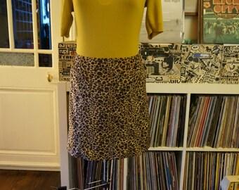 90s faux fur leopard skirt Agnes B