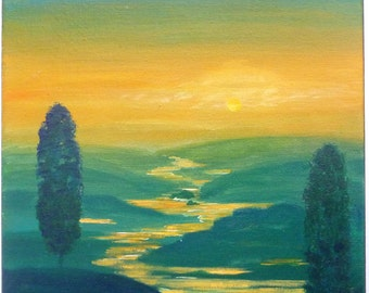 Original landscape painting, 11x14, Lazy river, Tuscan landscape sunset. Italian landscape in green and orange tones