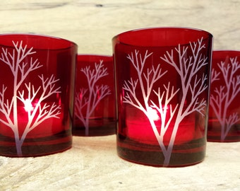 4 Red Candle Holders Engraved Glass 'Tree Branch' Holiday Decor Winter Wedding Favors Votive Holders