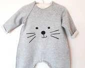 Baby Romper, Toddler Romper, Unisex Romper, Warm Romper for Babies, One-Piece for Babies, Boy Romper, Girl Romper, Grey Romper, Kitty Romper