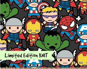 Full Yards KNIT Limited Marvel Kawaii Heroes Cotton/ Spandex Jersey