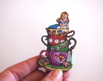 Teacup Alice - Alice in Wonderland - Laser Cut Wooden Brooch