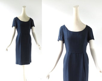 Vintage 1960s Dress / Pattullo - Jo Copeland / Navy Blue Dress / 60s Dress / XS S