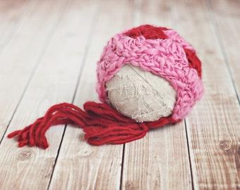 newborn valentine bonnet// newborn photo prop // baby photography // valentine hat // pretty girl hat // baby girl bonnet //  pink // RTS