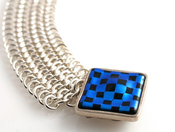 Custom Hand Woven Argentium Sterling Silver Bracelet with Blue Checkerboard Clasp