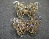 Pair Vintage Butterfly Hair Clips Barret's Rhinestone Costume Jewelry Very fancy & Glittery Large