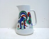 Vintage Waechtersbach Tall Pitcher Cat & Rooster Mod Groovy Mid Century Design Water Pitcher