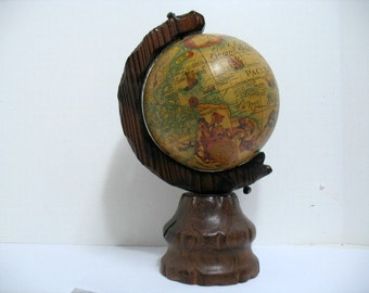 Vintage Old World Globe Spanish Conquistador Witco Era World Map Globe Italian Tiki Mediterranean