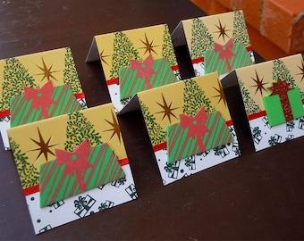 Christmas Tree and Christmas Presents Mini Cards or Gift Tags 2x2 (6)