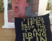 Two pillows made with memories from T-shirts