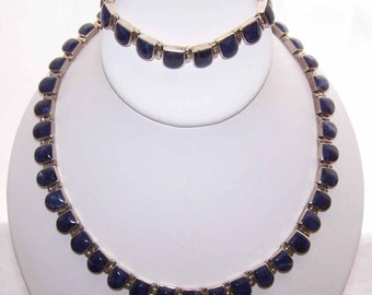 Vintage Mexican 950 SILVER & Sodalite Demi-Parure - Necklace and Bracelet