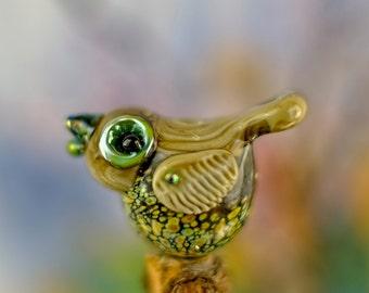 Dot....... lampwork bird bead...... sra