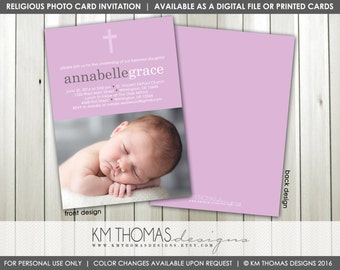 Girl Baptism Photo Invitation : Printable Christening Photo Invitation - Baby Dedication Photo Invitation - Purple - Leaves - R102
