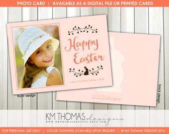 Bunny Printable Easter Photo Card : Personalized Photo Easter Card - Simple Bunny - Peach - Easter Holiday Card - Item EA101