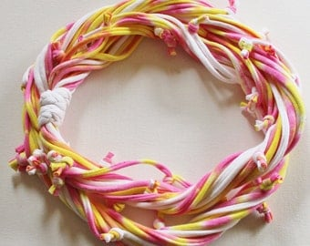 T Shirt Scarf - Infinity Circle Scarves Recycled Cotton - Tie Dye Lemon Bright Yellow Pink White Orange