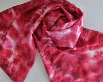 Hand Painted Silk Scarf - Handpainted Scarves Red Ruby Dark Apple Cherry White