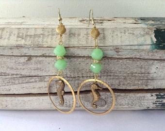 Beautiful Soft Green Seahorse Earrings