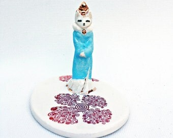 Cat Figurine Ring Cone Dish Miniature Home Decor Ceramic Handmade Tiny Goddess Kitty Totem