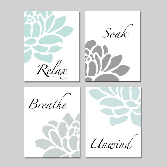 Relax soak unwind bathroom decor wall art set of 4 prints for Relax bathroom wall decor